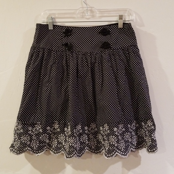Cute lace retro polka dot skirt w/ buttons pinup